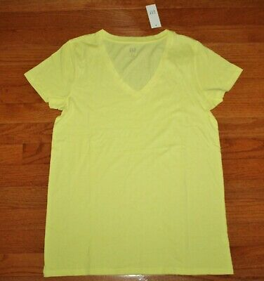 NEW NWT Womens GAP Short Sleeve V-Neck T-Shirt FAVORITE Tee Yellow FREE SHIP *G3