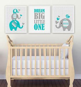 Nursery Wall Art Print ~ Dream Big Aqua Elephants ~ 3 pce set