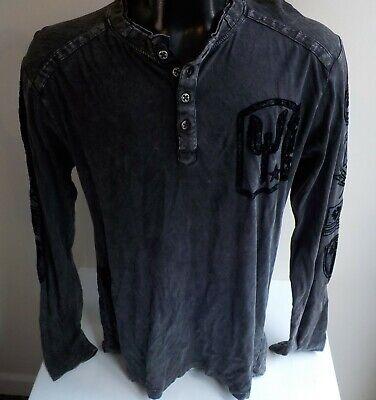 AFFLICTION Live Fast LS Henley T Shirt Gray/Black SZ L Cotton BLK. PRM. 73