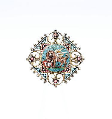 Antike Brosche Markuslöwe Löwe Venedig Millefiori Mikromosaik Mosaic 800 Silber