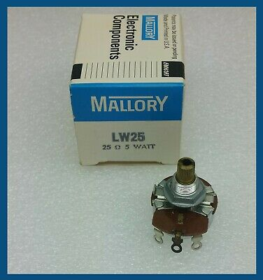 New Mallory Lw25 25 Ohm 5 Watt Potentiometer - Variable Resistor