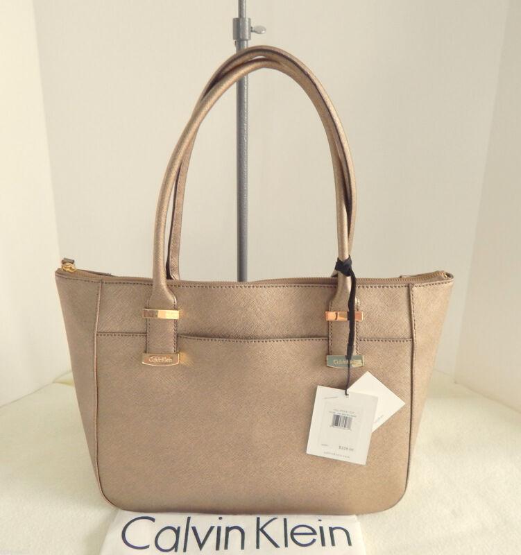 CALVIN KLEIN Saffiano Leather Antique Bronze Tote/Satchel +Dust Bag NWT $228+Tax
