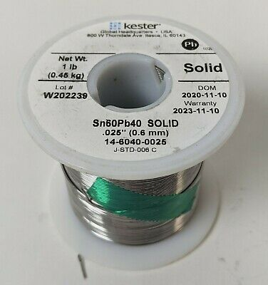 1lb Kester Solder .025 0.6mm Diameter 6040 Solid 14-6040-0025 New