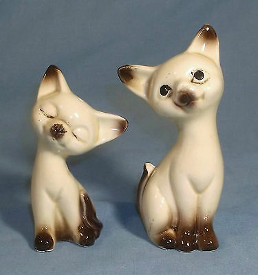 Vintage Porcelain Siamese Cat Kitten Salt & Pepper Shakers Figurines