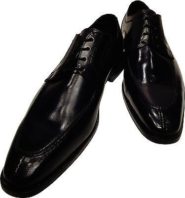 (Men's Ronaldo Handmade Solid Black Italian Leather Oxford Tie Dress Shoes $350)
