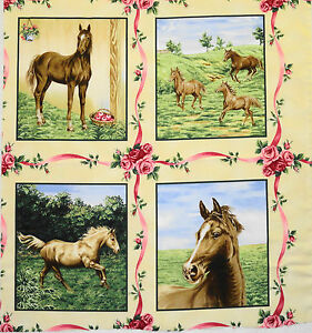 American Beauties Horses western horse blocks set of 8 P&B Textiles Quilt fabric