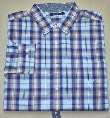 New 3XLT 3XT Nautica Men button down shirt long sleeve blue checks top 3XL TALL