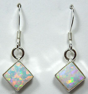 6mm White Fire Opal 925 Sterling Silver Dangle Earrings - Handcrafted in USA