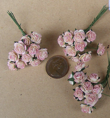 1:12 Scale 3 Bunches (30 Flowers) Of Pink Paper Roses Dolls House Miniature PG