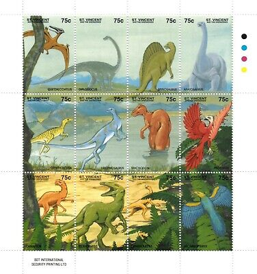 St. Vincent 1994 SC# 2049 Dinosaurs, Prehistoric - Sheet of 12 Stamps - MNH