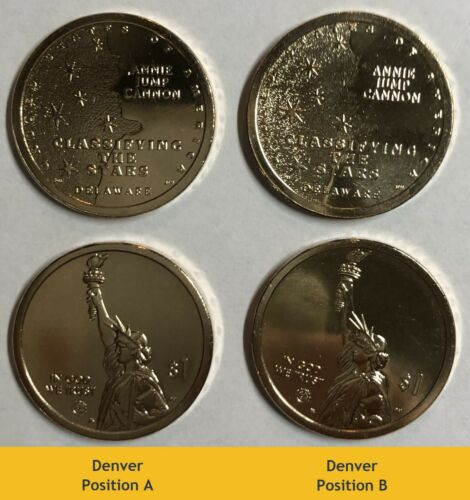 2019 P D American Innovation $1- Delaware - Positions A & B! (4) Coin Set