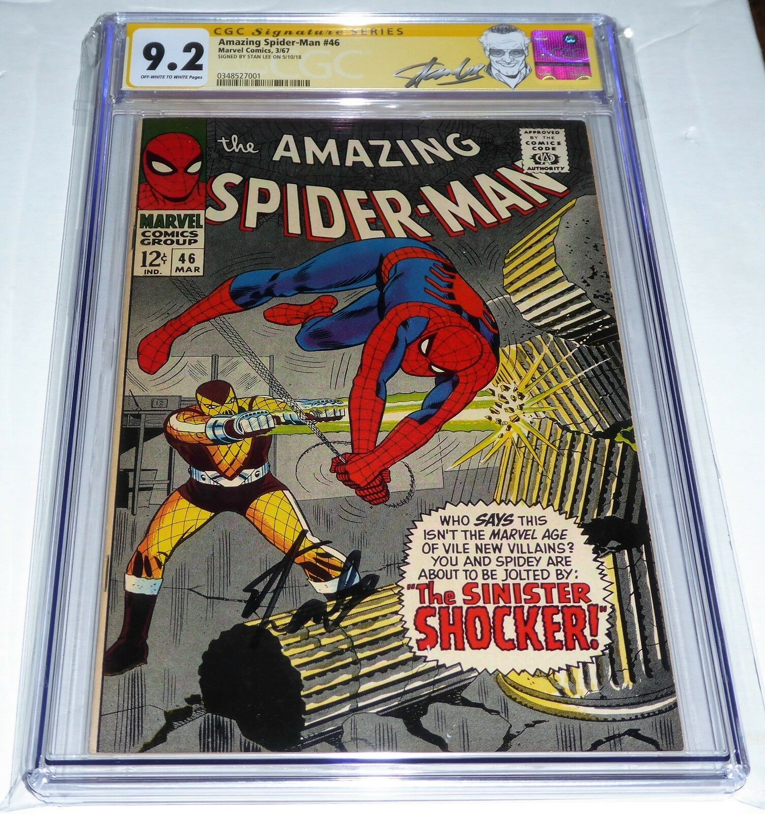 Amazing Spider-Man #46 CGC Signature Autograph STAN LEE Origin 1st Shocker App.