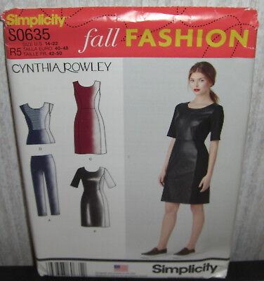 Womens/Misses Dresses Tops Pants Sewing Pattern/Simplicity S0635/SZ 14-22/UCN