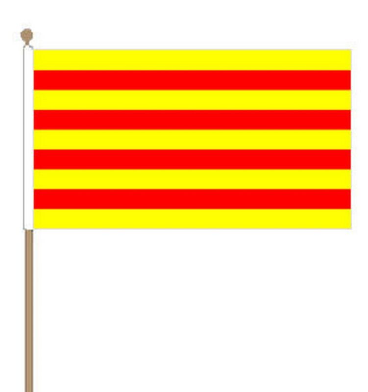 "CATALONIA Polyester medium HAND WAVING FLAG 9""X6"" 22.5cm x 15cm CATALAN"