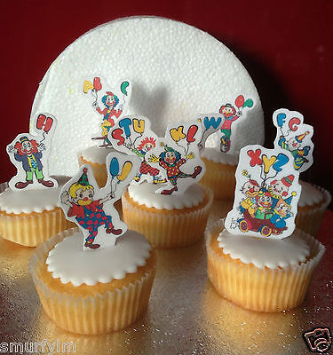 Clowns Circus Balloons 26 Cupcake  Toppers Stand ups diy party Edible wafer