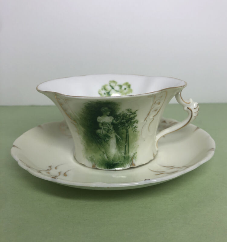 Antique RC Rosenthal Sevres Printemps green Lady with basket cup and saucer