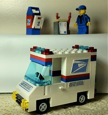 Lego Custom City USPS Mail Delivery set Truck minifig post box hand truck envelo (Lego Minifig Box)