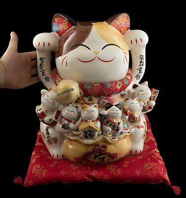 Large Cat Japanese Maneki Neko 14 3/16in IN Porcelain And Family Kittens 40715