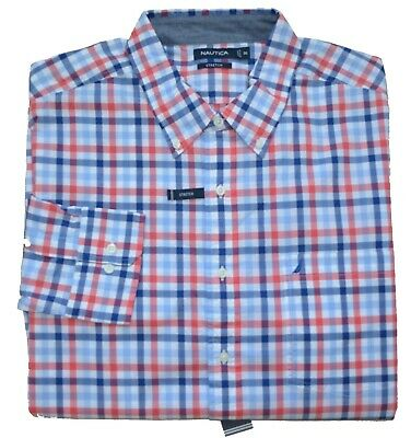 New 3XL 3X Nautica Mens button down shirt long sleeve RED blue plaid pocket top