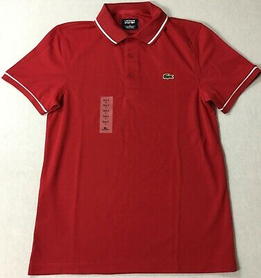 Lacoste Men Sport Tennis Piped Technical Pique Polo DH9630 Red Size 5/L