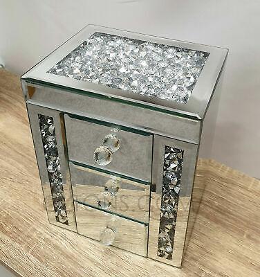 Gatsby Espejo Apiñado Cristal Plata Diamante Joyero Biselado Vidrio 3 Cajón