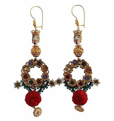 NEW DOLCE & GABBANA Earrings Crystal Gold Floral Pupi Doll Dangling Hook