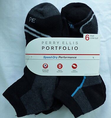 (Perry Ellis Portfolio 6 PACK Mens Low Cut Socks Shoe 7-12 Speed Dry Performance)