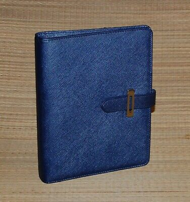 Lucca Classic Franklin Covey Planner Blue Etched Faux Leather Tab 1.25 Rings