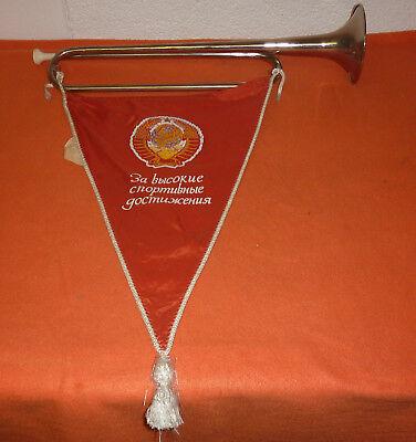 UdSSR Blasinstrument mit Fahne Wimpel Russland Sowjetunion UDSSR