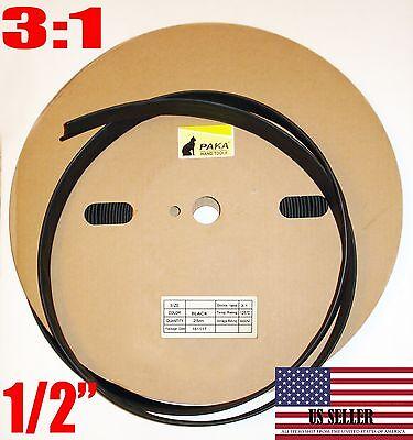24 Inch - 12 Dual Wall Black Heat Shrink Tubing 31 Adhesive Glue Lined Tube