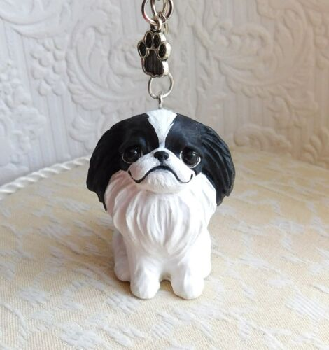 Japanese Chin Keychain Handmade Furever Clay Resin Sculptures by Raquel