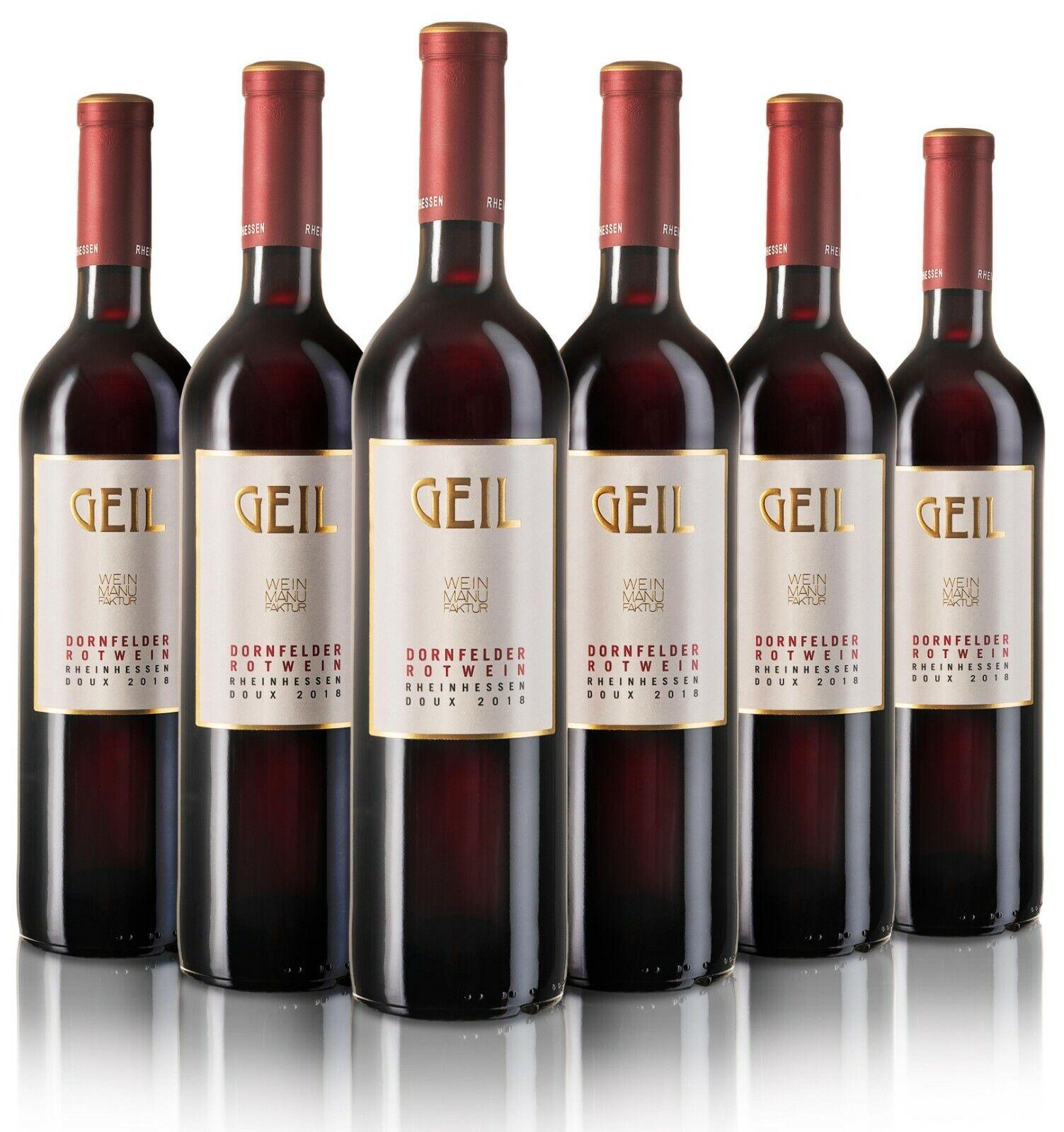 6 Flaschen Geil Dornfelder Rotwein 2019 lieblich Rheinhessen Wein Johann Geil