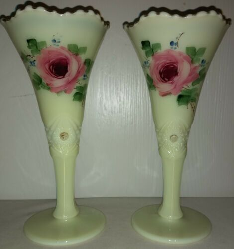 "Jefferson Glass Diamond Peg Custard 8"" Vase w/Handpainted Rose ExC 2 Available"