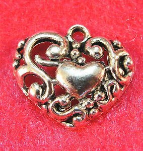 10 Antique Silver Beautiful HEART Charms Pendants Tibetan Jewelry Findings H50A