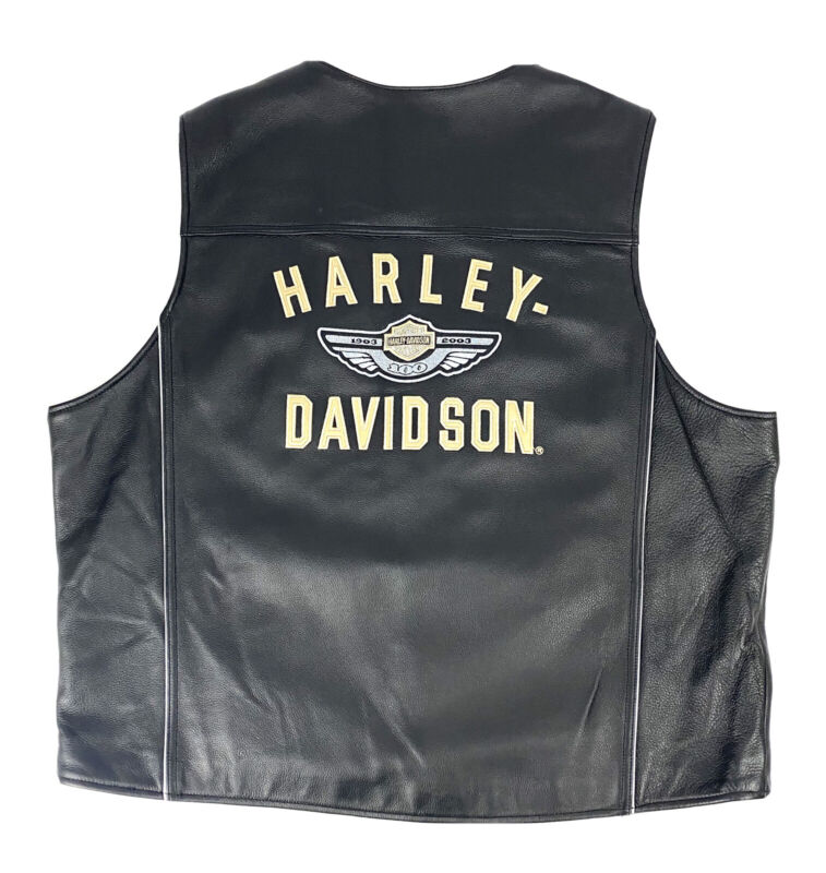 HARLEY DAVIDSON Black Leather Vest Mens 100th Anniversary Size 2XL Embroidered