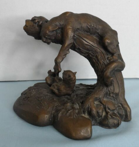 Puma and Cub by Chapel Cold Cast Bronze Statue 1984 signed National Wildlife Fed