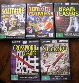 NEW 5 Packs Computer PC Games - Solitaire, Crossword, Sudoku etc