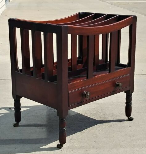 Antique English Mahogany Canterbury with Org. Brass Casters 19th Century