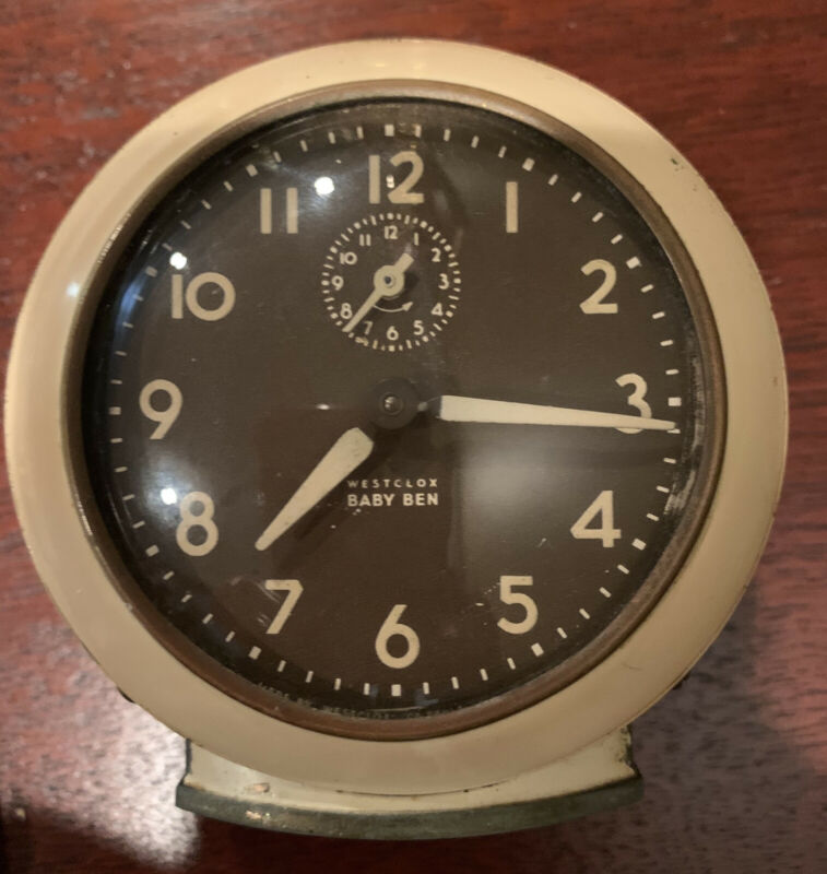 Vtg 1949-56 Westclox Baby Ben Style Ivory Alarm Clock 61 V 2A Works!