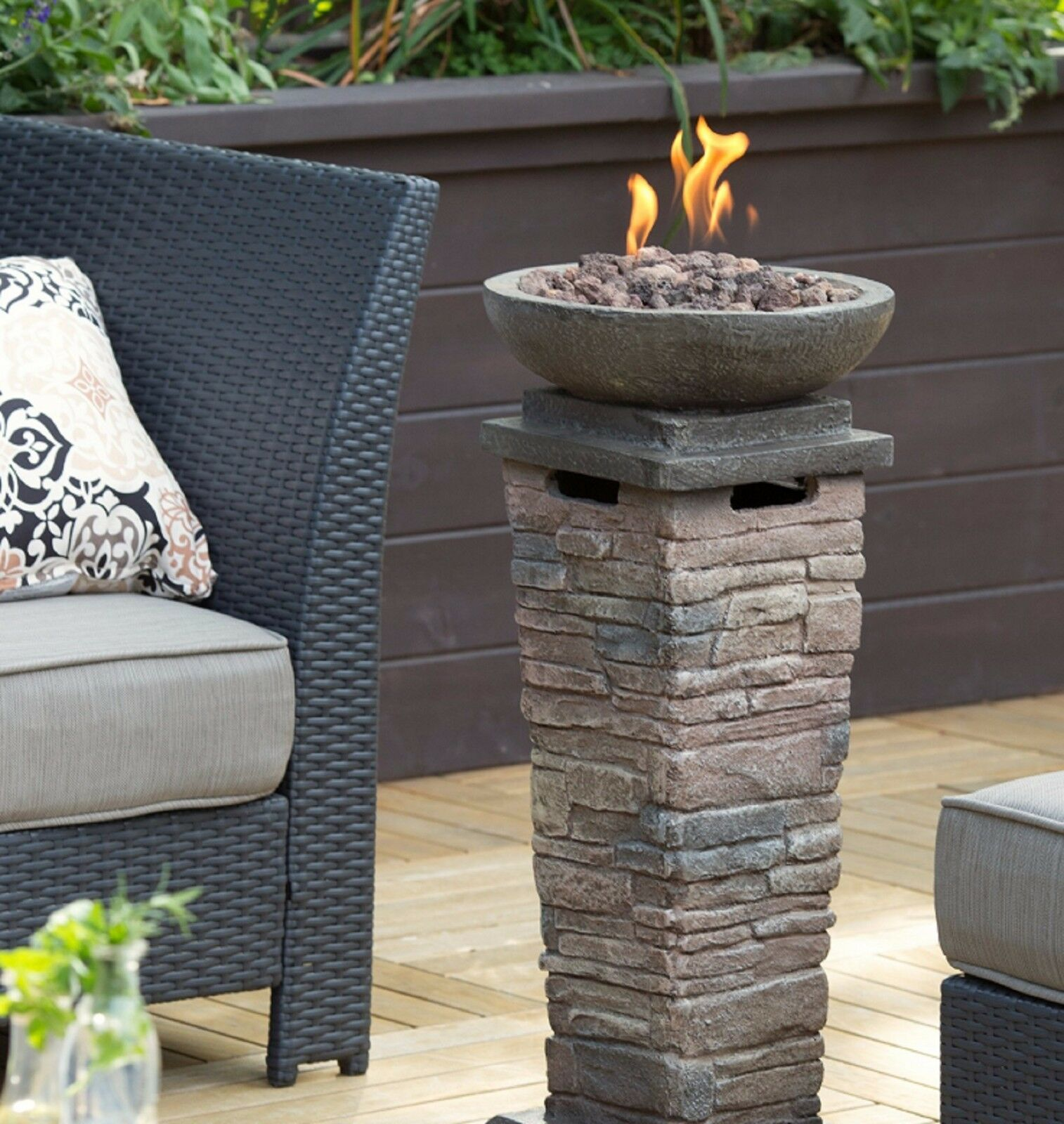 Outdoor Propane Firepit Gas Fire Column Patio Furniture Deck