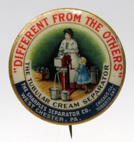 1896 SHARPLES CREAM SEPARATOR Milk Maid & Daughter Dairy pinback button *