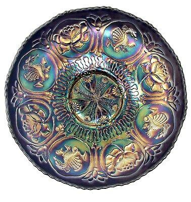 Fenton Dragon (Fenton Dragon & Lotus Carnival Glass Blue Ruffled Bowl)