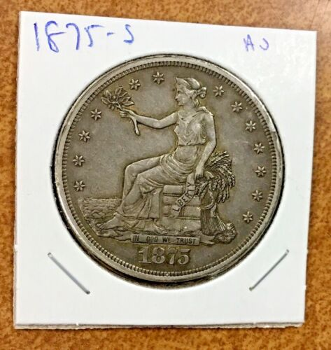 1875-S Trade Dollar  AU details very nice appearance