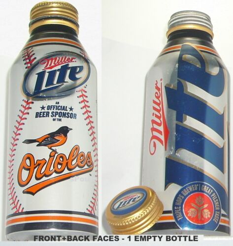 2012 BALTIMORE ORIOLES MLB MD BASEBALL MILLER LITE PINT ALUMINUM BOTTLE BEER CAN
