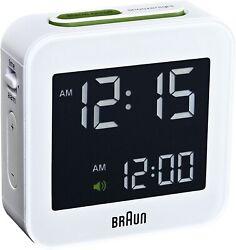 Braun BNC008WH White Digital LCD Travel Quartz Alarm Clock