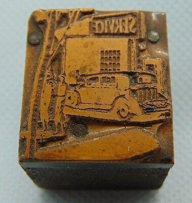 Vintage Printing Letterpress Printers Block Car Sitting At A Service Station