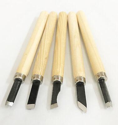 "5pc Mini Wood Carving Woodworking Knife Tool Set Size L - 5.1"" / 12.95cm"