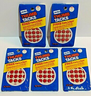 Lot Of 5 Packs Red Vintage 1983 Amtac Thumb Tacks 200 Tacks Total