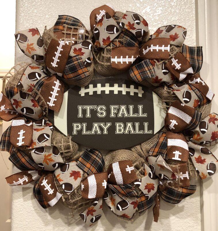 FARMHOUSE FALL FOOTBALL 🏈 Wreath DECO MESH BURLAP 22 x 22 It