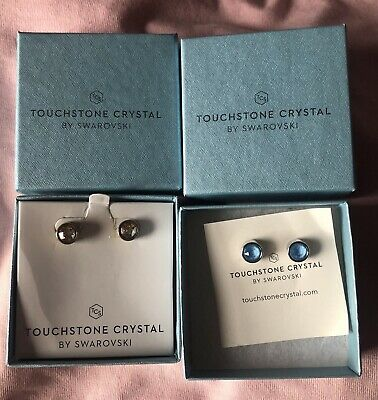 Touchstone Crystal by Swarovski Ice earrings Lot of 2 - Summer Blue and Golden